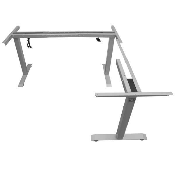 Electric L Shaped Standing Desk Base Return On Right Silver