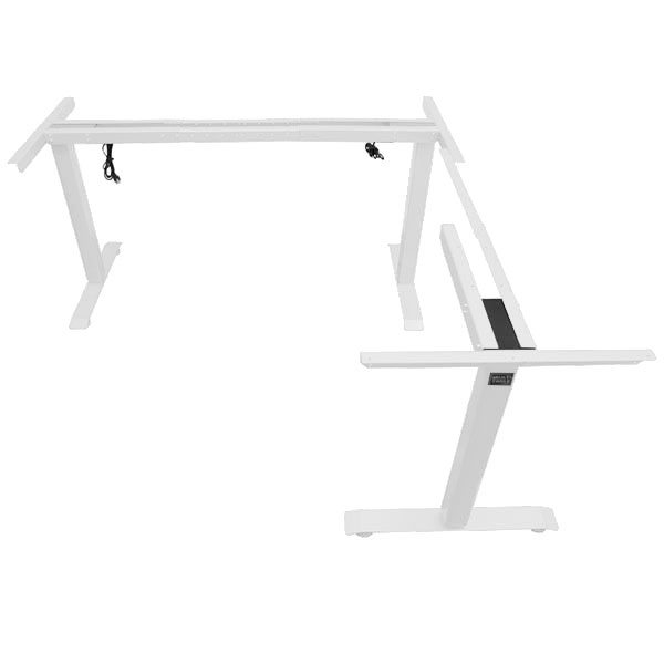 Electric L Shaped Standing Desk Base Return On Right White