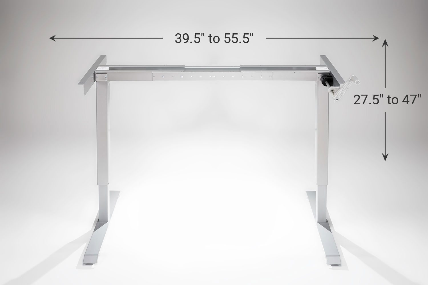 Multitable Manual Standing Desk Base Silver Multitable
