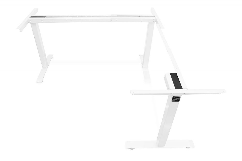 L Shaped Standing Desk Frame White Return Right