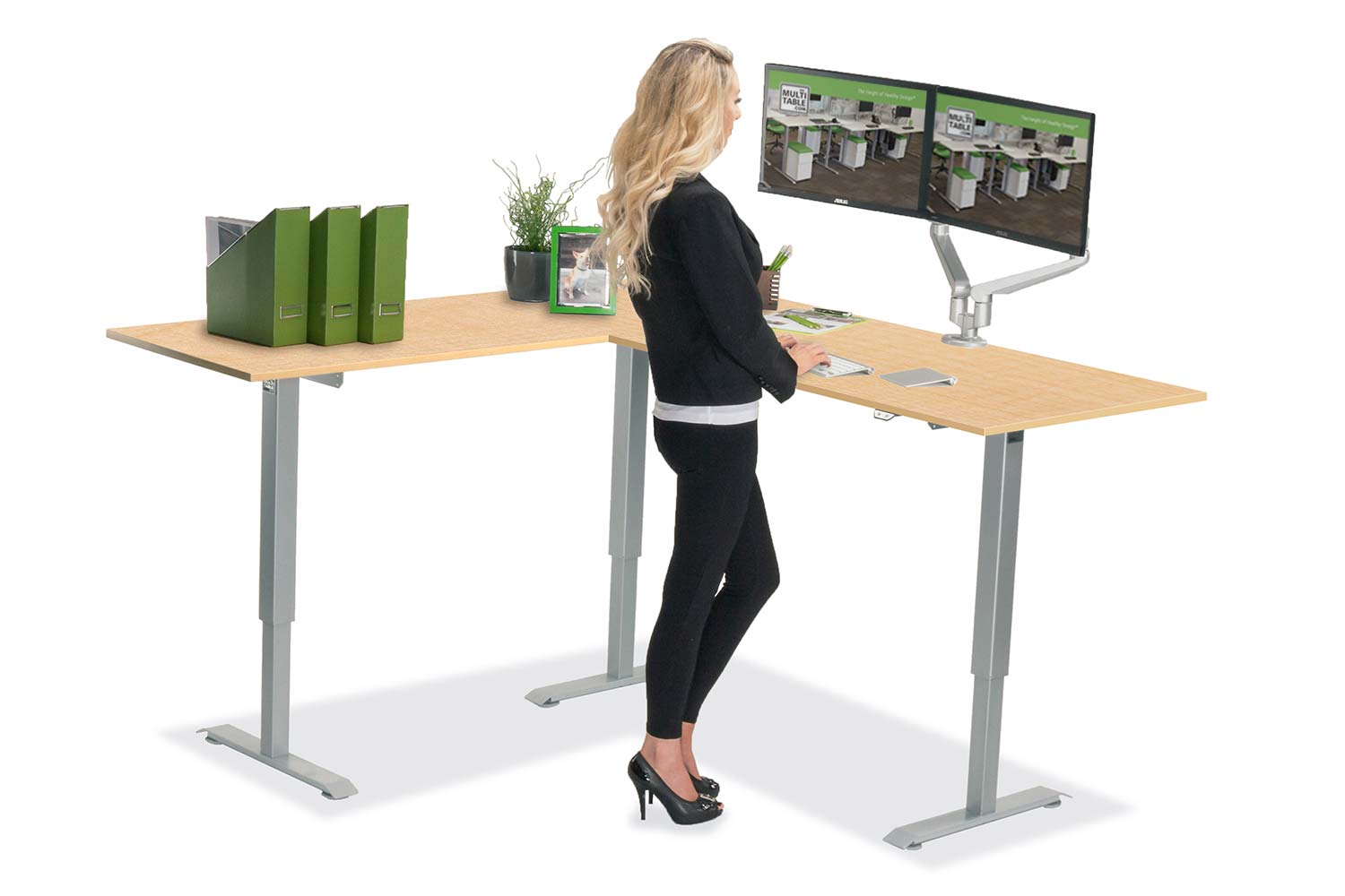 L Shaped Standing Desk Fusion Maple L 1 Multitable