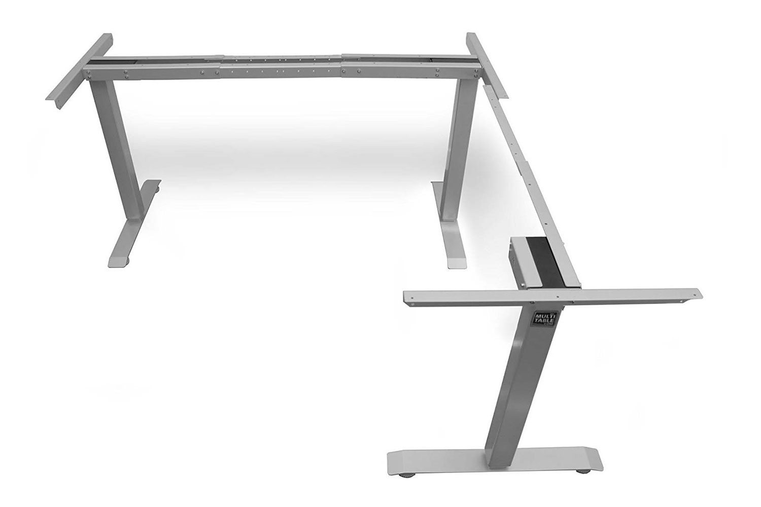 L Shaped Standing Desk Frame Silver Return Right