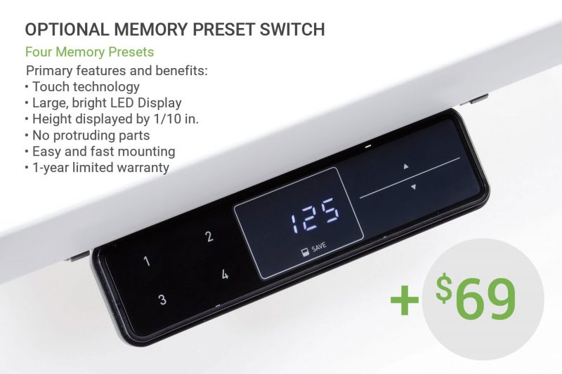 Optional Height Adjustable Memory Preset Switch MultiTable