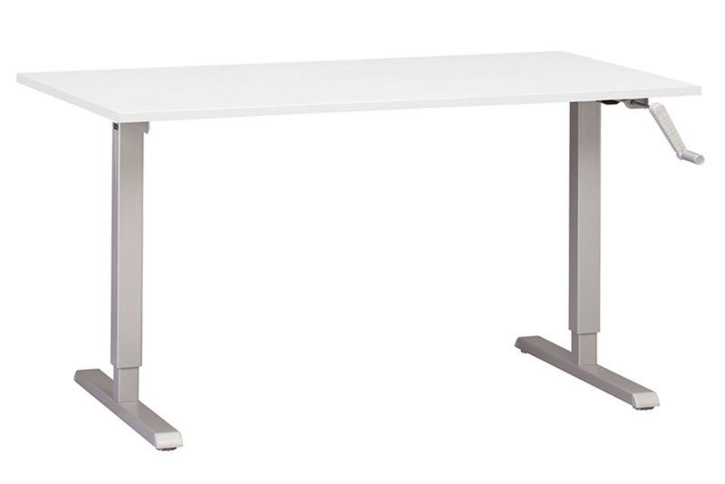 Hand Crank Height Adjustable Standing Desk With Large White Desktop