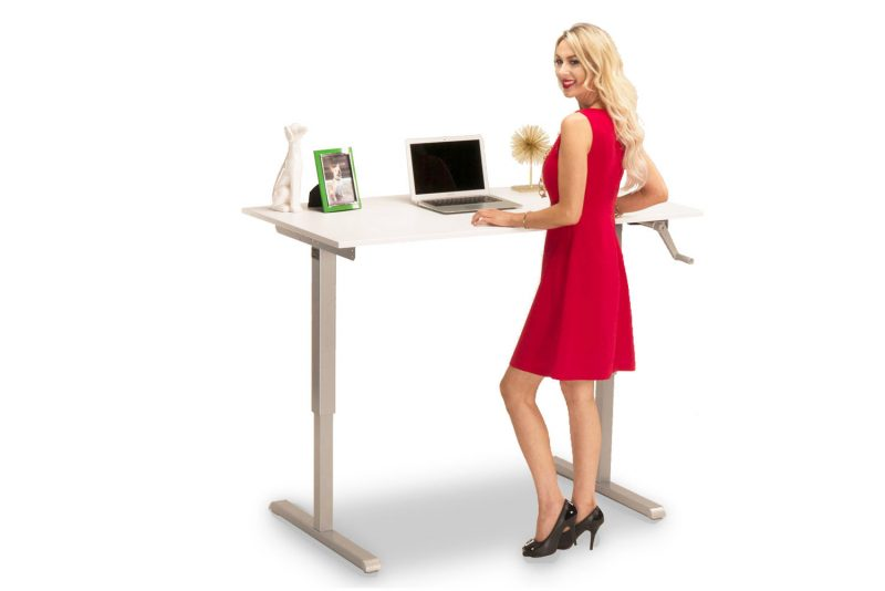 Hand Crank Height Adjustable Standing Desk With Large White Desktop MultiTable