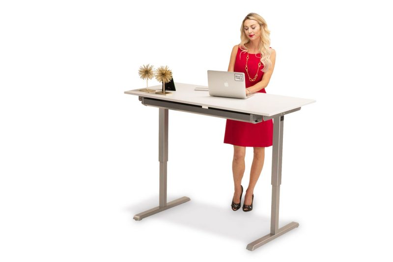 MultiTable Hand Crank Height Adjustable Standing Desk With Large White Desktop