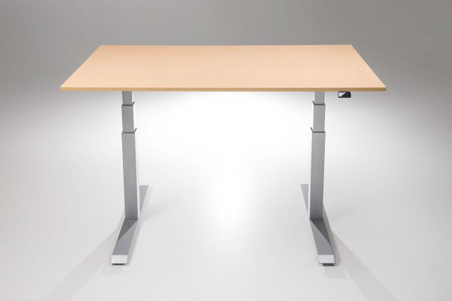 The ModDesk Pro Standing Desk Silver Base Fusion Maple Desk Top