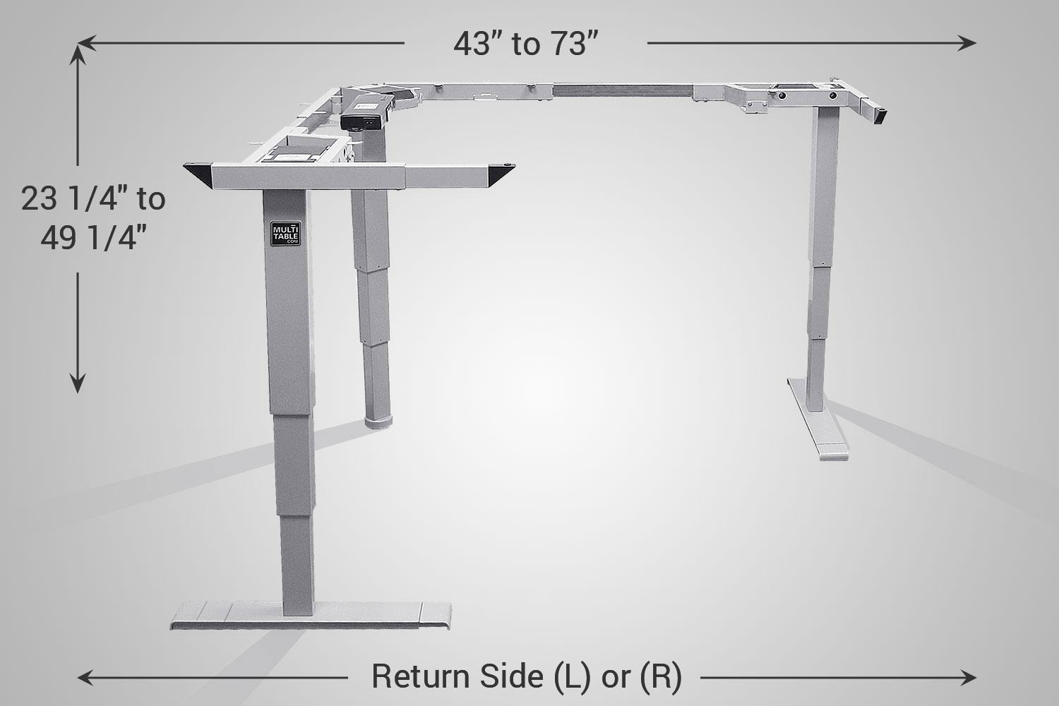 L Shaped Standing Desk Silver Frame MultiTable