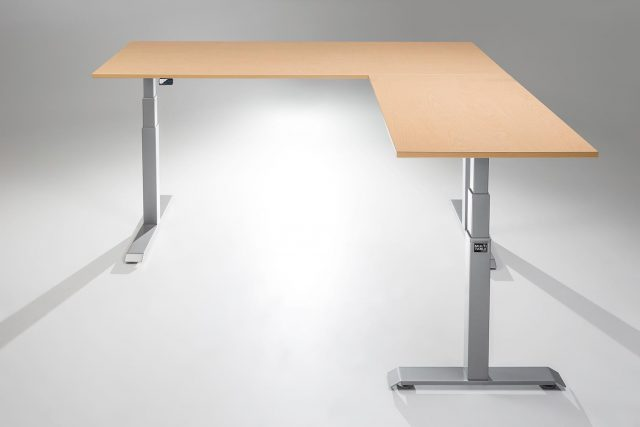 ModDesk Pro L Shaped Standing Desk Silver Frame Fusion Maple Desk Top Return Right