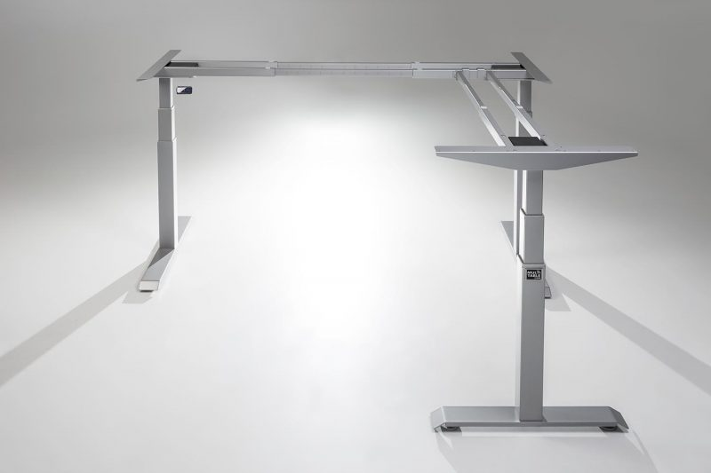 ModDesk Pro L Shaped Standing Desk Silver Frame Return Right
