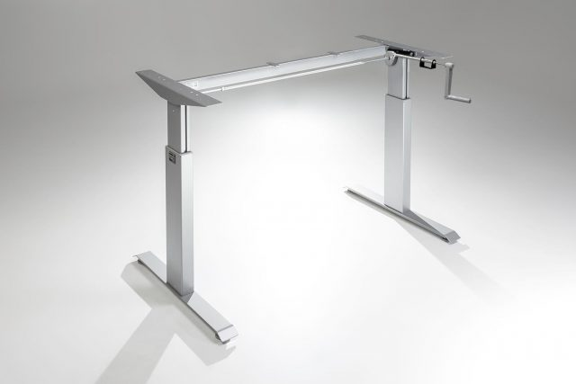 FlexTable Hand Crank Height Adjustable Standing Desk Frame Silver A