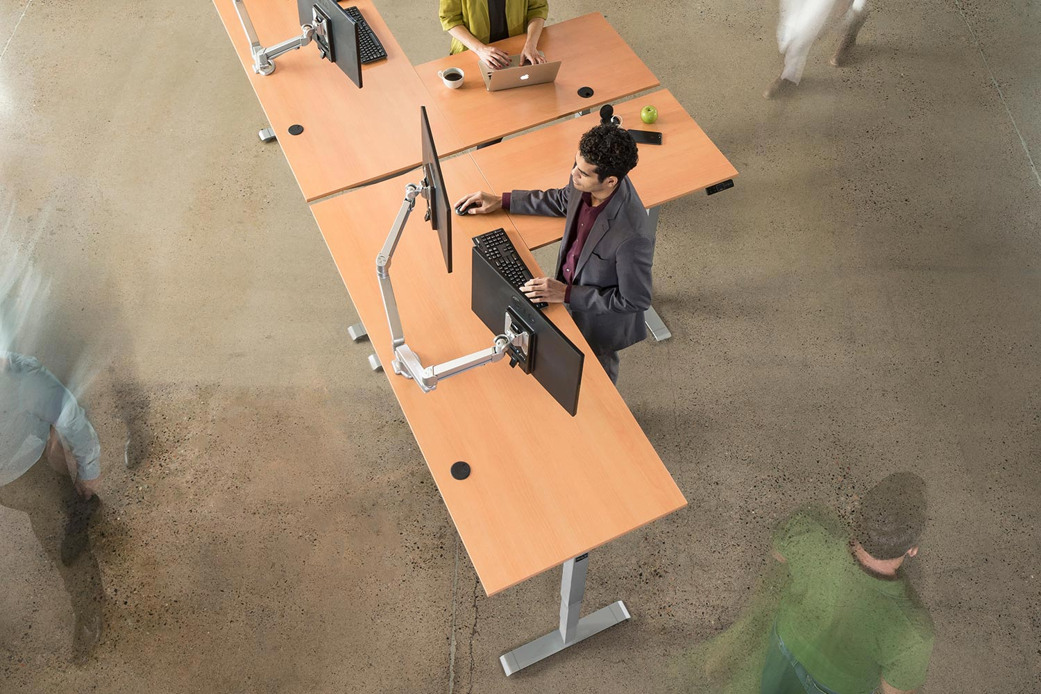 MultiTable L Shaped Height Adjustable Corner Standing Desk