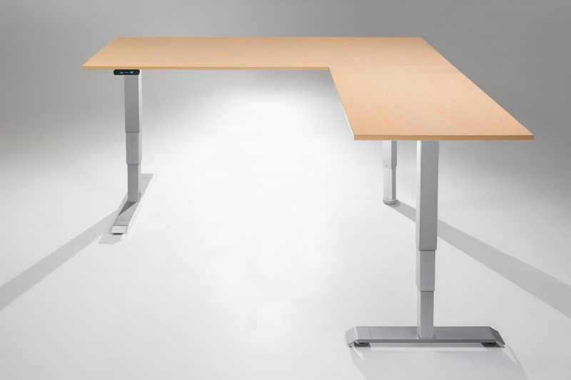 L Shaped Standing Desk Fusion Maple Table Top MultiTable Height Adjustable Desks R