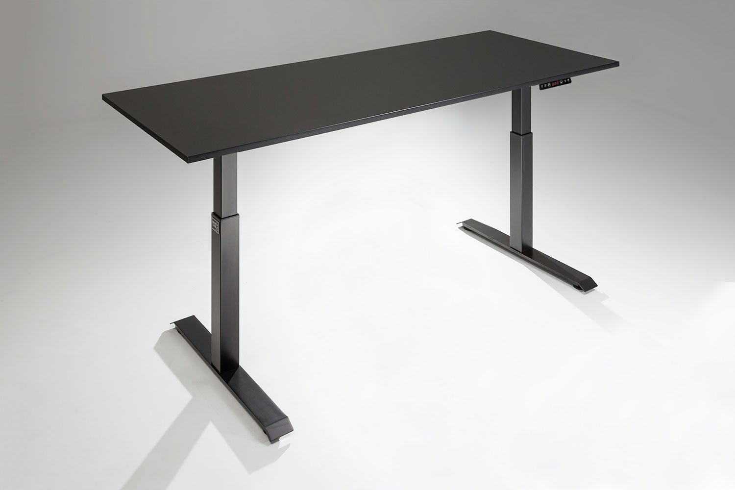 Mod E 2 Height Adjustable Standing Desk Black Base Black Table Top