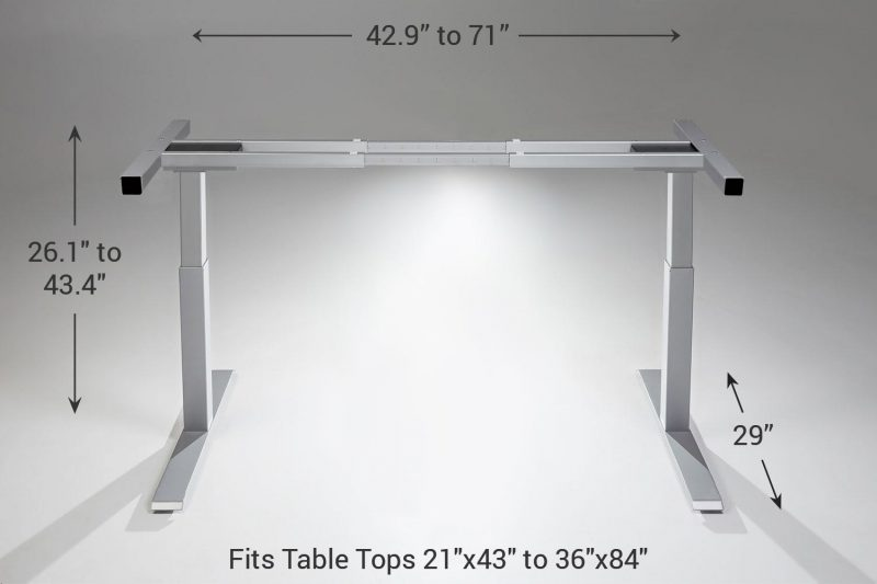 Mod E2 Height Adjustable Standing Desk Frame Silver Standard 29 MultiTable Phoenix