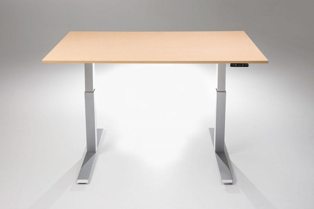Mod E2 Height Adjustable Standing Desk Silver Base Fusion Maple Table Top MultiTable