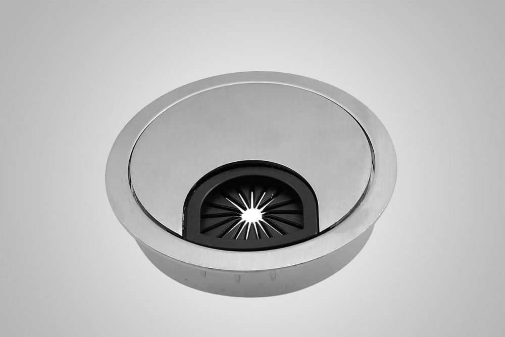 Grommet Cover And Hole Brushed Steel