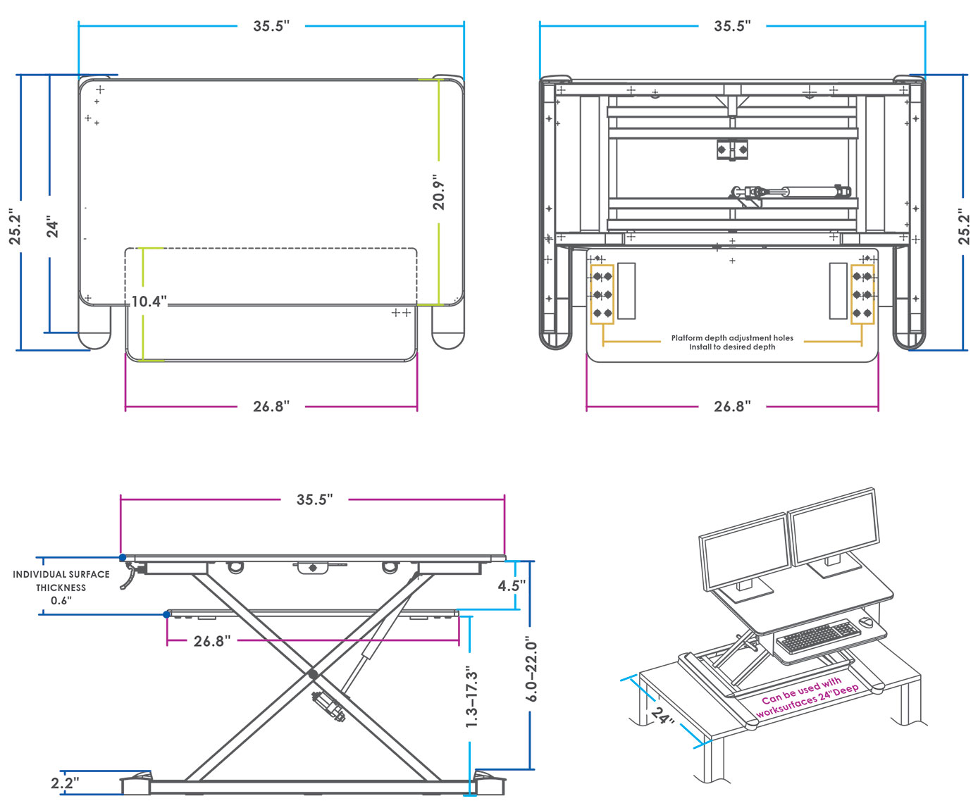 MultiTable Standing Desk Converter Dimensions