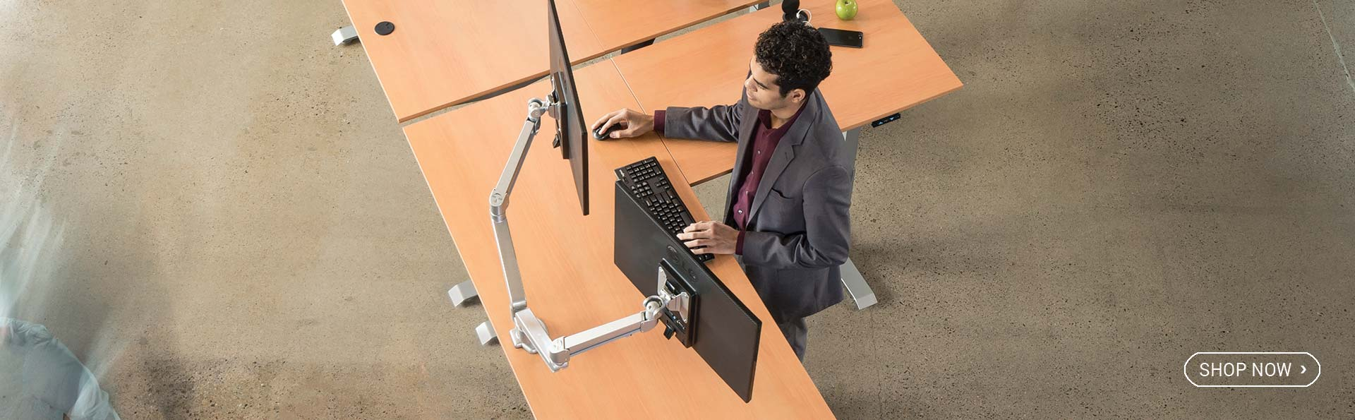 Mod E Pro L Shaped Corner Adjustable Height Standing Desk MultiTable
