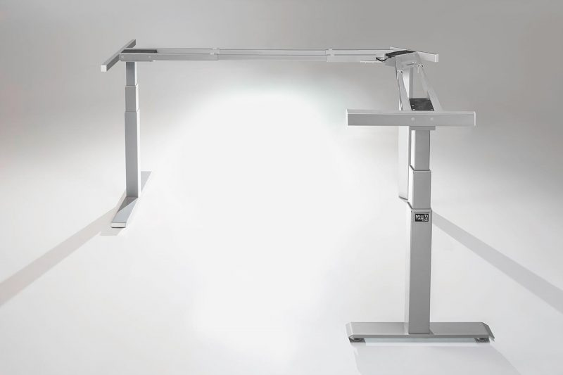 Mod E Pro L Shaped Standing Desk Frame Silver R Height Adjustable Standing Desk Base MultiTable