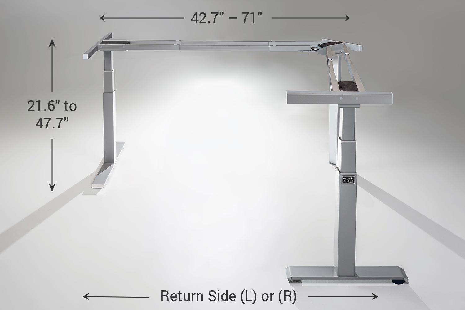 MultiTable Mod E Pro L Shaped Ergonomic Height Adjustable Electric Standing Desk Frame Specs